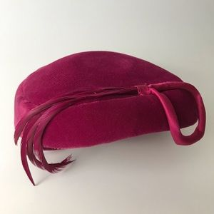 Vintage Velvet Hat Abstract Cranberry 1950s 1960s